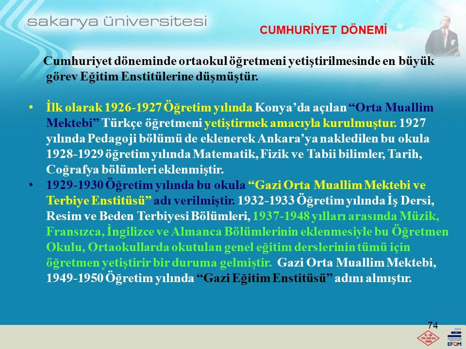 Ortaokul ve Lise Öğretmeni Yetiştirme (20.04.2012) -Darülmuallimin-Ali (1924 öncesi) -Yüksek Muallim Mektebi (1924) -Orta Muallim Mektebi (1926-1927) Gazi Orta Öğretim Muallim Mektebi ve Terbiye Enstitüsü (1928-1929) -Gazi Eğitim Enstitüsü (1949-1950) -Gazi Yüksek Öğretmen Okulu (1978-1979) Meslek Lisesi Öğretmeni Yetiştirme Kız Meslek Öğretmen Okulu (1934) Kız Teknik Öğretmen Okulu (1947-1948) Kız Teknik Yüksek Öğretmen Okulu (1961-1962) Erkek Meslek Öğretmen Okulu (1937-1938) Erkek Teknik Yüksek Öğretmen Okulu (1962) Ticaret Yüksek Öğretmen Okulu (1955-1956) Ticaret ve Turizm Yüksek Öğretmen Okulu (1965-1966) CUMHURİYET DÖNEMİ 73