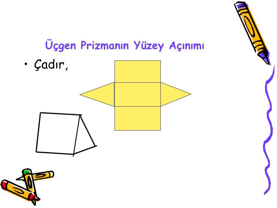 ÜÇGEN PRİZMA Alt ve üst tabanları üçgensel bölge olan bir geometrik şekildir. 1.Yüzeyi düz yüzeydir. 2…….tane yüzü vardır. 3. Alt ve üst tabanları üçg
