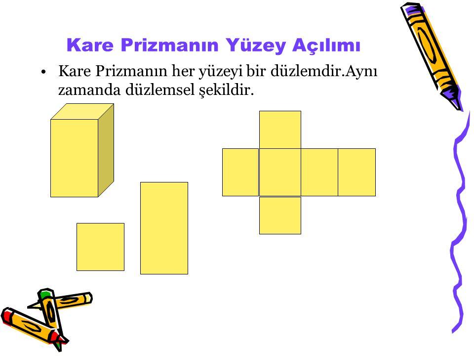 Kare Prizma: Tabanları kare olan, 2 karesel, 4 dikdörtgensel bölgeden oluşan şekle kare prizma denir. Prizmalar taban şekillerine göre adlandırılır. K