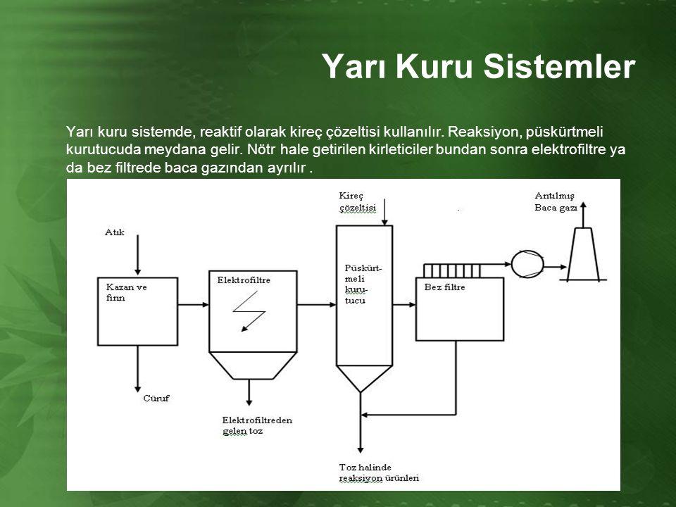 Yarı Kuru Sistemler Yarı kuru sistemde, reaktif olarak kireç çözeltisi kullanılır. Reaksiyon, püskürtmeli kurutucuda meydana gelir. Nötr hale getirile