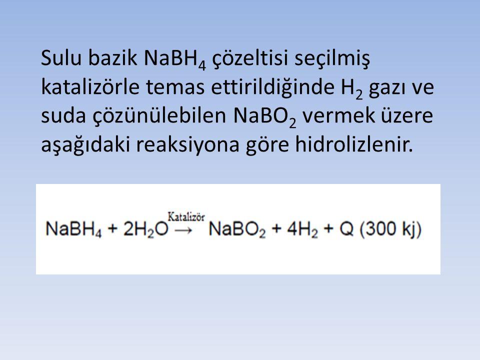 Sulu bazik NaBH 4 çözeltisi seçilmiş katalizörle temas ettirildiğinde H 2 gazı ve suda çözünülebilen NaBO 2 vermek üzere aşağıdaki reaksiyona göre hid