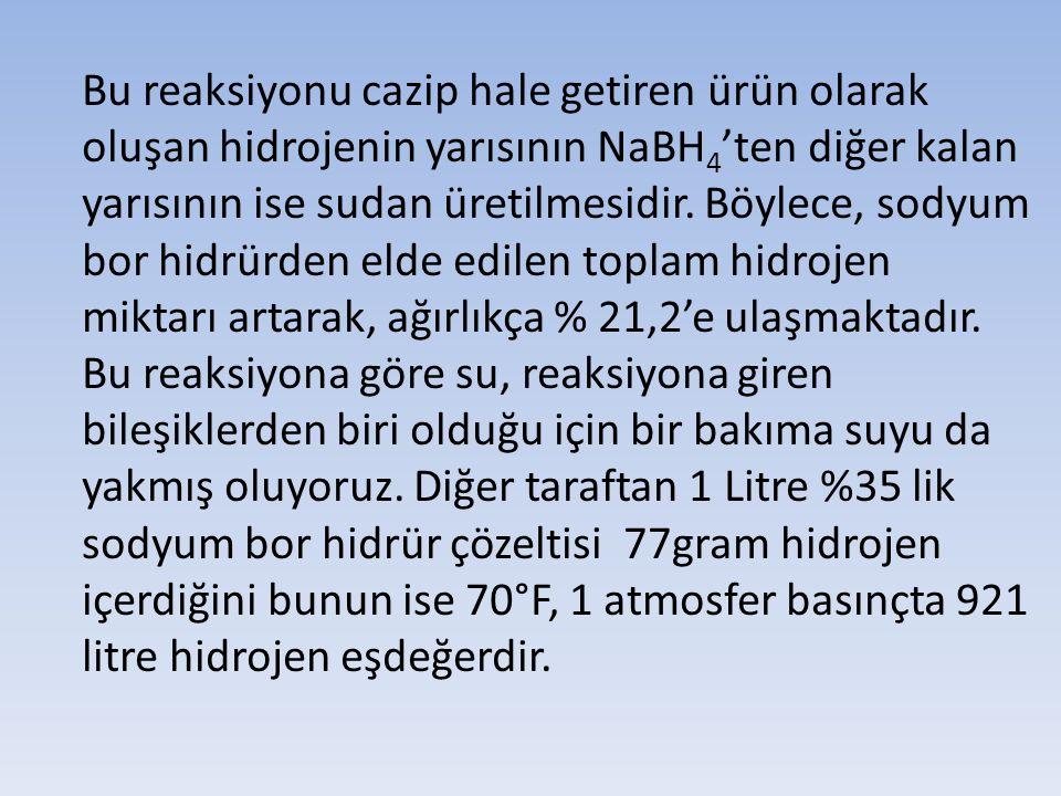 Bu reaksiyonu cazip hale getiren ürün olarak oluşan hidrojenin yarısının NaBH 4 'ten diğer kalan yarısının ise sudan üretilmesidir. Böylece, sodyum bo