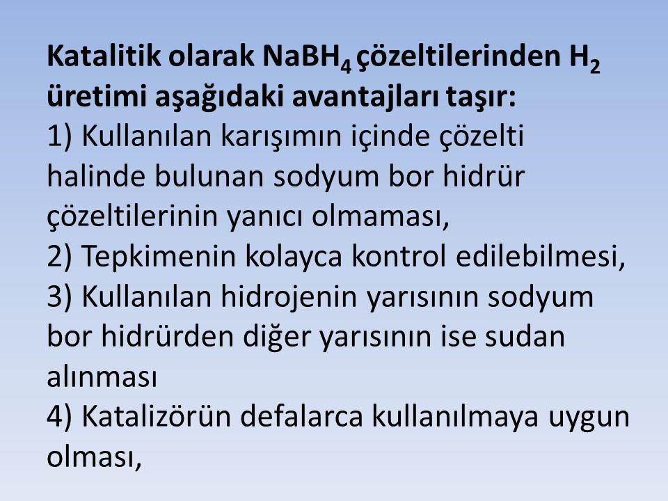 Katalitik olarak NaBH 4 çözeltilerinden H 2 üretimi aşağıdaki avantajları taşır: 1) Kullanılan karışımın içinde çözelti halinde bulunan sodyum bor hid