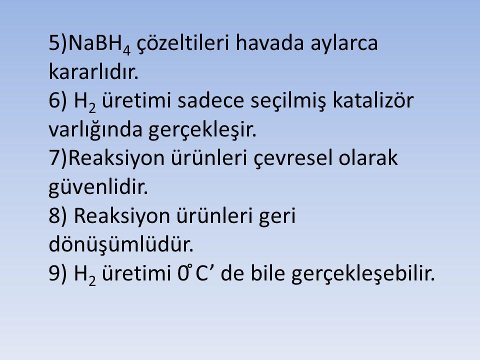 5)NaBH 4 çözeltileri havada aylarca kararlıdır. 6) H 2 üretimi sadece seçilmiş katalizör varlığında gerçekleşir. 7)Reaksiyon ürünleri çevresel olarak
