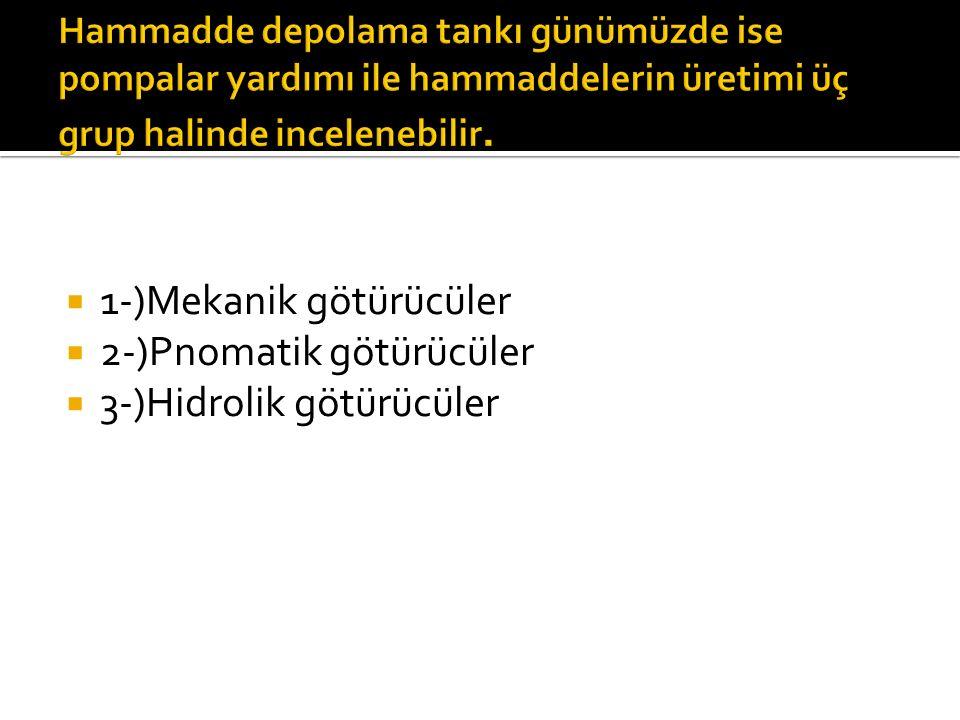  1-)Mekanik götürücüler  2-)Pnomatik götürücüler  3-)Hidrolik götürücüler