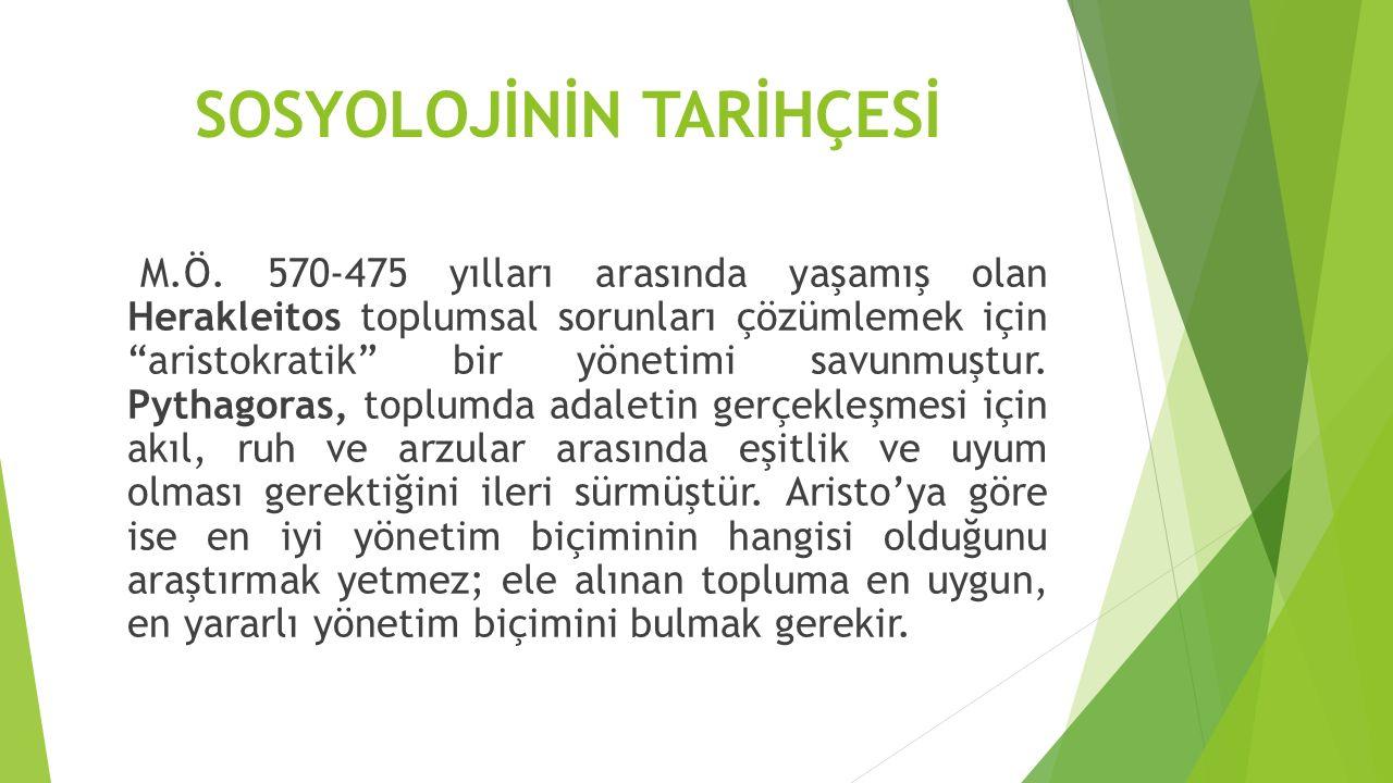SOSYOLOJİNİN TARİHÇESİ M.Ö.