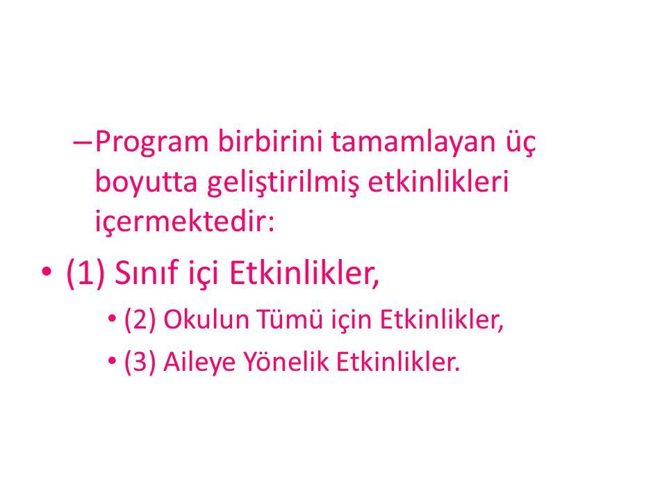 – Program birbirini tamamlayan üç boyutta geliştirilmiş etkinlikleri içermektedir: (1) Sınıf içi Etkinlikler, (2) Okulun Tümü için Etkinlikler, (3) Ai