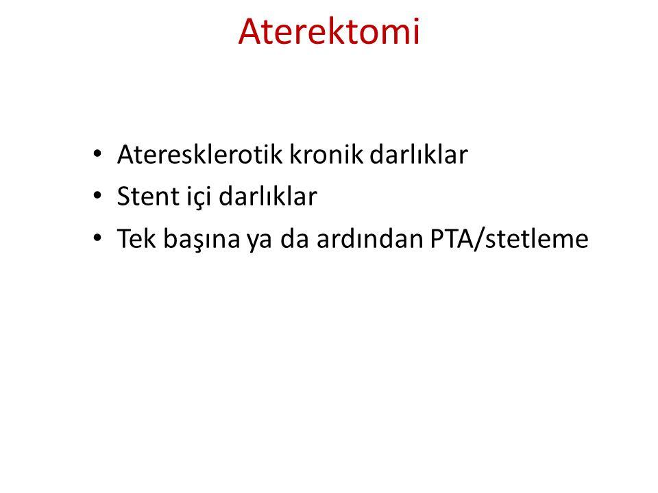 Aterektomi Ateresklerotik kronik darlıklar Stent içi darlıklar Tek başına ya da ardından PTA/stetleme