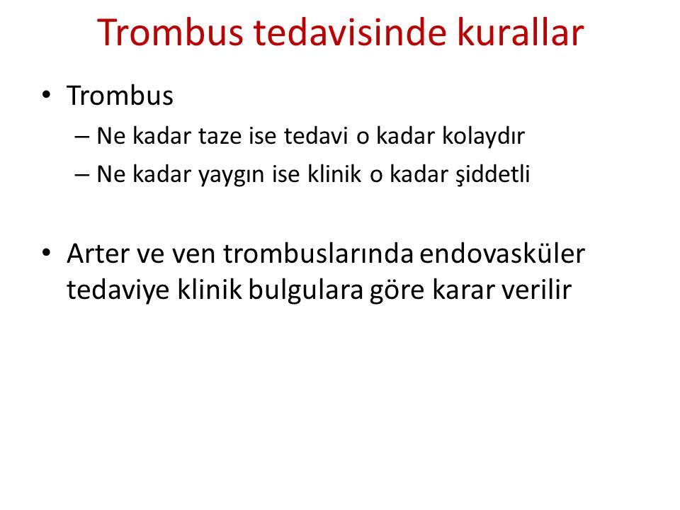 Trombus tedavisinde kurallar Trombus – Ne kadar taze ise tedavi o kadar kolaydır – Ne kadar yaygın ise klinik o kadar şiddetli Arter ve ven trombuslar