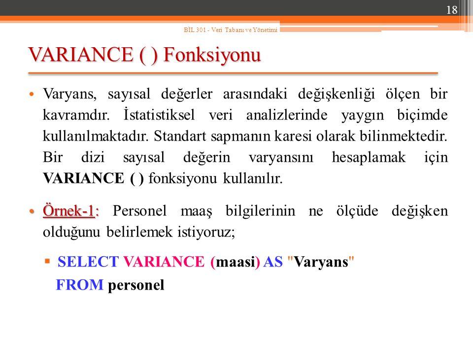 VARIANCE ( ) Fonksiyonu 18 BİL 301 - Veri Tabanı ve Yönetimi Varyans, sayısal değerler arasındaki değişkenliği ölçen bir kavramdır.