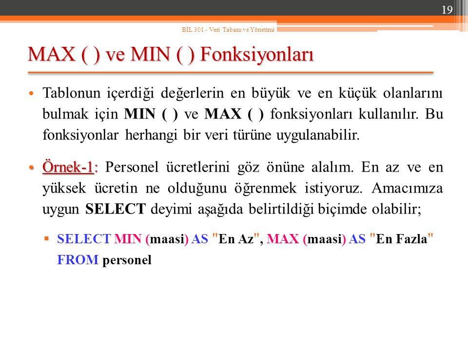 MAX ( ) ve MIN ( ) Fonksiyonları 19 BİL 301 - Veri Tabanı ve Yönetimi Tablonun içerdiği değerlerin en büyük ve en küçük olanlarını bulmak için MIN ( ) ve MAX ( ) fonksiyonları kullanılır.