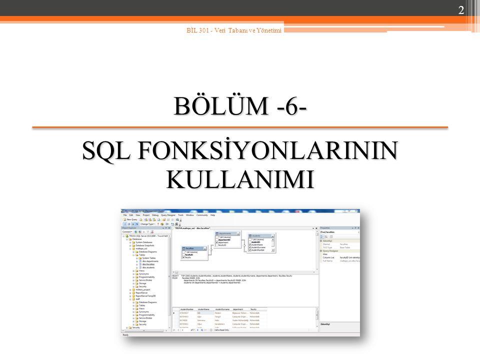 Genel Bakış… Fonksiyon kavramı, SQL de fonksiyonların yeri, Tek satır fonksiyonlarının kullanımı: − Karakter fonksiyonları, − Sayısal fonksiyonlar, − Tarih fonksiyonları, − Dönüştürme fonksiyonları, − Diğer SQL fonksiyonları.