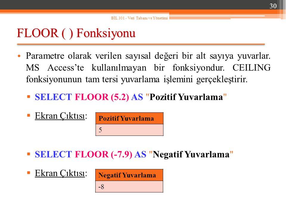 FLOOR ( ) Fonksiyonu 30 BİL 301 - Veri Tabanı ve Yönetimi Parametre olarak verilen sayısal değeri bir alt sayıya yuvarlar.