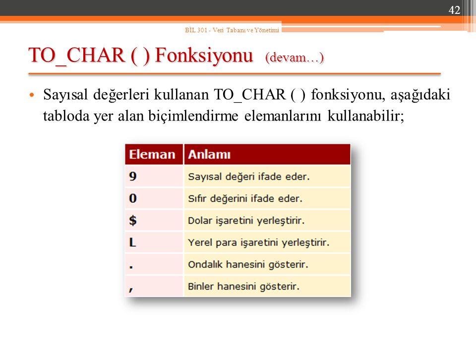 TO_CHAR ( ) Fonksiyonu (devam…) 42 BİL 301 - Veri Tabanı ve Yönetimi Sayısal değerleri kullanan TO_CHAR ( ) fonksiyonu, aşağıdaki tabloda yer alan biçimlendirme elemanlarını kullanabilir;
