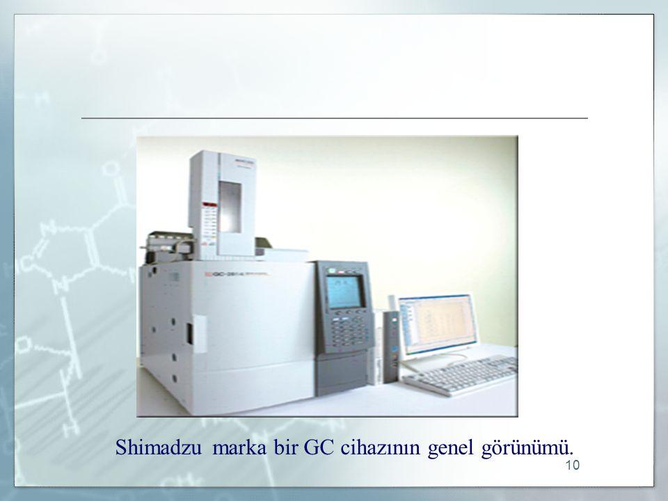 10 Shimadzu marka bir GC cihazının genel görünümü.