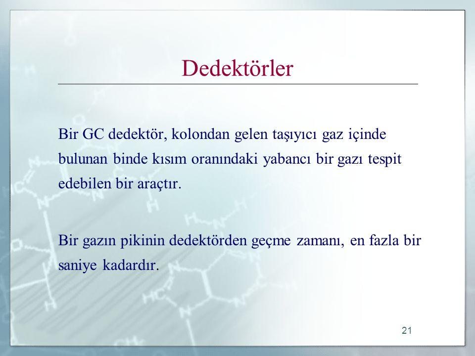 21 Dedektörler Bir GC dedektör, kolondan gelen taşıyıcı gaz içinde bulunan binde kısım oranındaki yabancı bir gazı tespit edebilen bir araçtır.