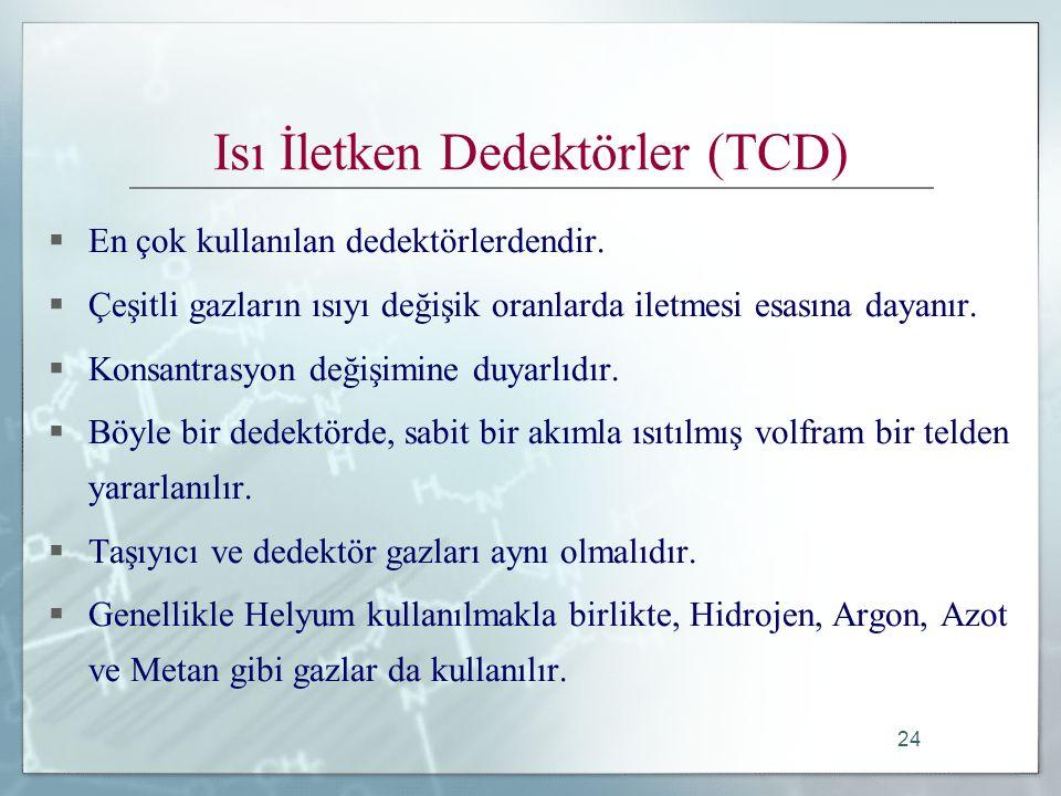 24 Isı İletken Dedektörler (TCD)  En çok kullanılan dedektörlerdendir.