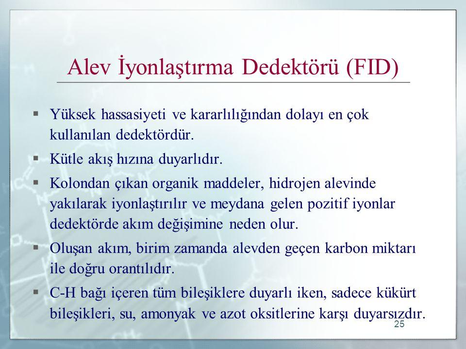 25 Alev İyonlaştırma Dedektörü (FID)  Yüksek hassasiyeti ve kararlılığından dolayı en çok kullanılan dedektördür.