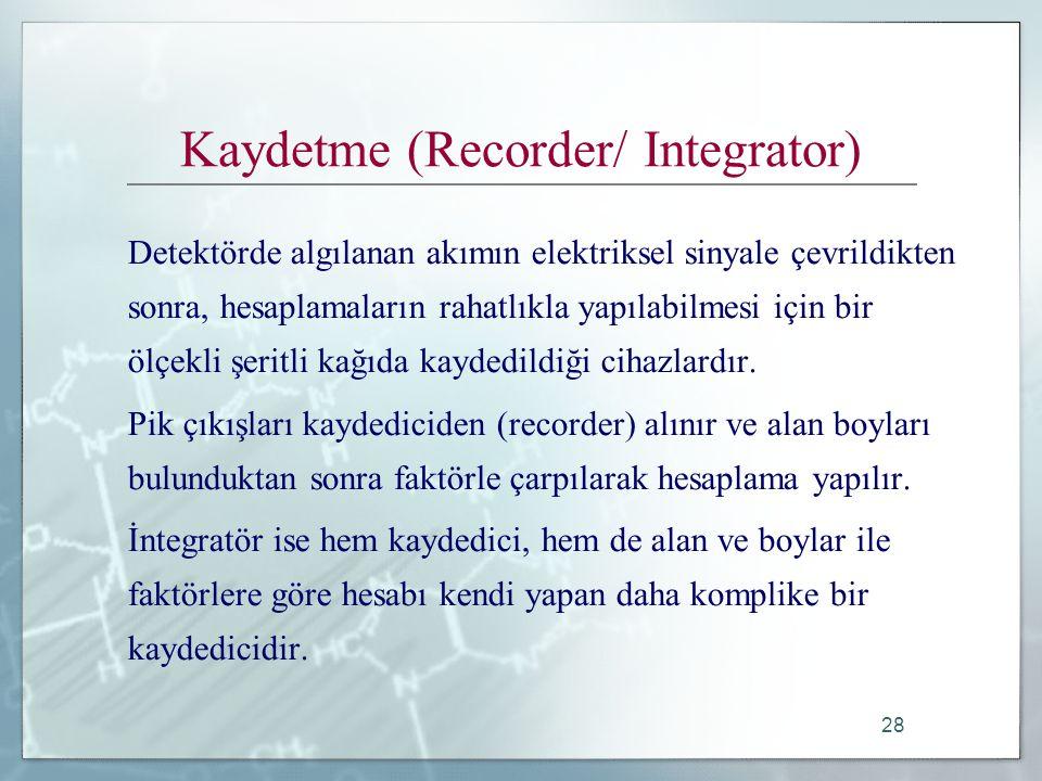 28 Kaydetme (Recorder/ Integrator) Detektörde algılanan akımın elektriksel sinyale çevrildikten sonra, hesaplamaların rahatlıkla yapılabilmesi için bir ölçekli şeritli kağıda kaydedildiği cihazlardır.