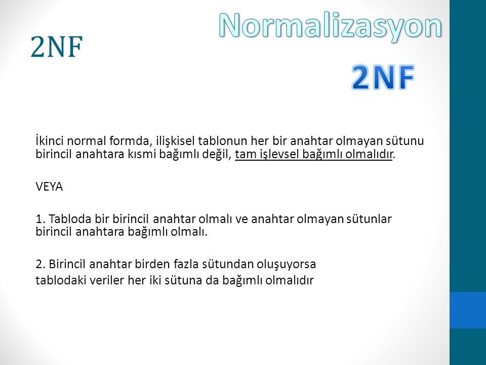 2NF İkinci normal formda, ilişkisel tablonun her bir anahtar olmayan sütunu birincil anahtara kısmi bağımlı değil, tam işlevsel bağımlı olmalıdır. VEY