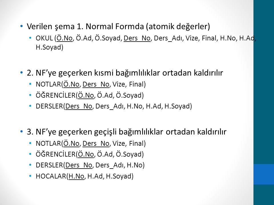 Verilen şema 1. Normal Formda (atomik değerler) OKUL (Ö.No, Ö.Ad, Ö.Soyad, Ders_No, Ders_Adı, Vize, Final, H.No, H.Ad, H.Soyad) 2. NF'ye geçerken kısm