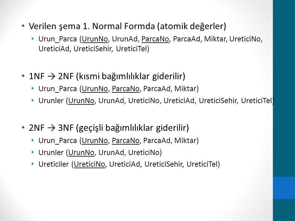 Verilen şema 1. Normal Formda (atomik değerler) Urun_Parca (UrunNo, UrunAd, ParcaNo, ParcaAd, Miktar, UreticiNo, UreticiAd, UreticiSehir, UreticiTel)