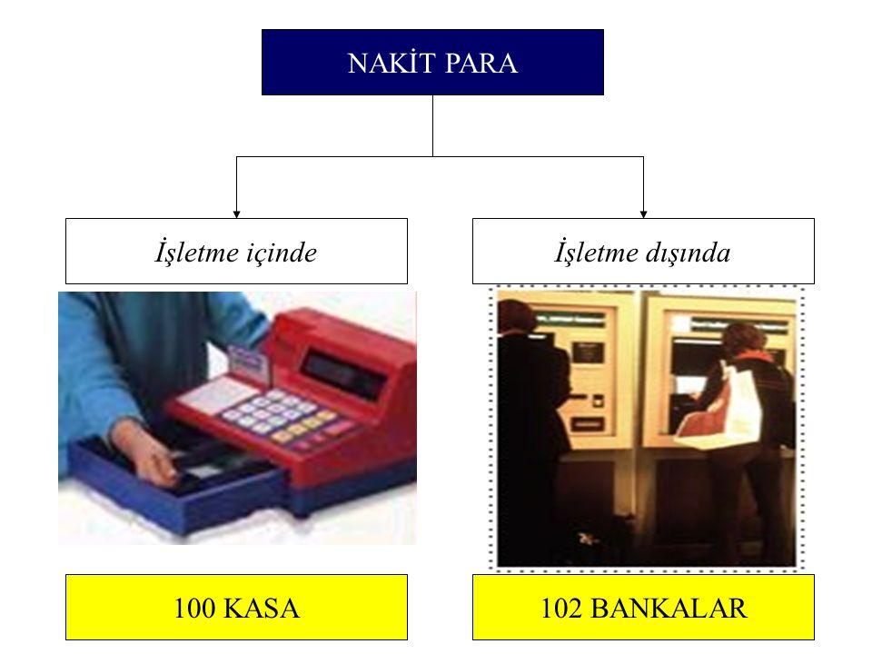100 KASA102 BANKALAR NAKİT PARA İşletme içindeİşletme dışında