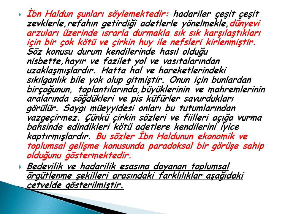  İbn Haldun şunları söylemektedir: hadariler çeşit çeşit zevklerle,refahın getirdiği adetlerle yönelmekle,dünyevi arzuları üzerinde ısrarla durmakla