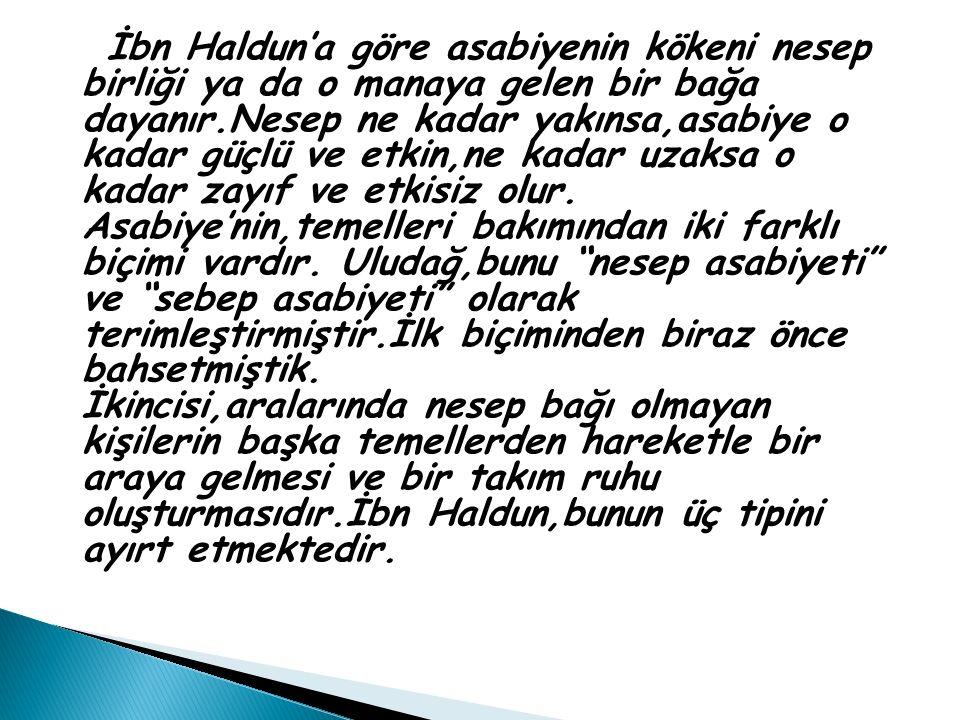 İbn Haldun'a göre asabiyenin kökeni nesep birliği ya da o manaya gelen bir bağa dayanır.Nesep ne kadar yakınsa,asabiye o kadar güçlü ve etkin,ne kadar