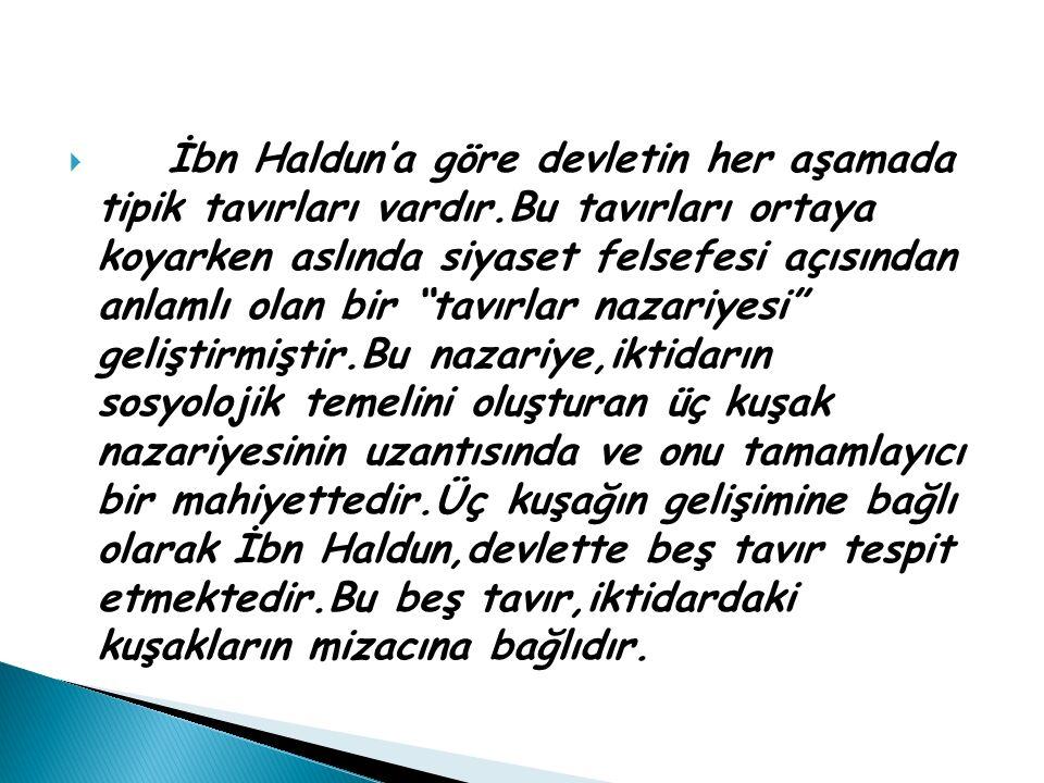 """ İbn Haldun'a göre devletin her aşamada tipik tavırları vardır.Bu tavırları ortaya koyarken aslında siyaset felsefesi açısından anlamlı olan bir """"tav"""