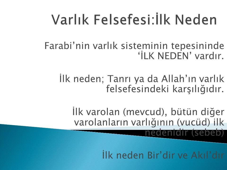 Farabi'nin varlık sisteminin tepesininde 'İLK NEDEN' vardır. İlk neden; Tanrı ya da Allah'ın varlık felsefesindeki karşılığıdır. İlk varolan (mevcud),