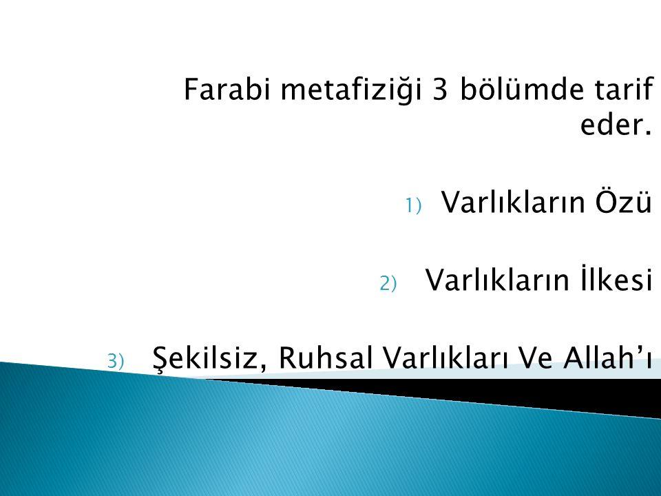 Farabi metafiziği 3 bölümde tarif eder. 1) Varlıkların Özü 2) Varlıkların İlkesi 3) Şekilsiz, Ruhsal Varlıkları Ve Allah'ı Kanıtlama