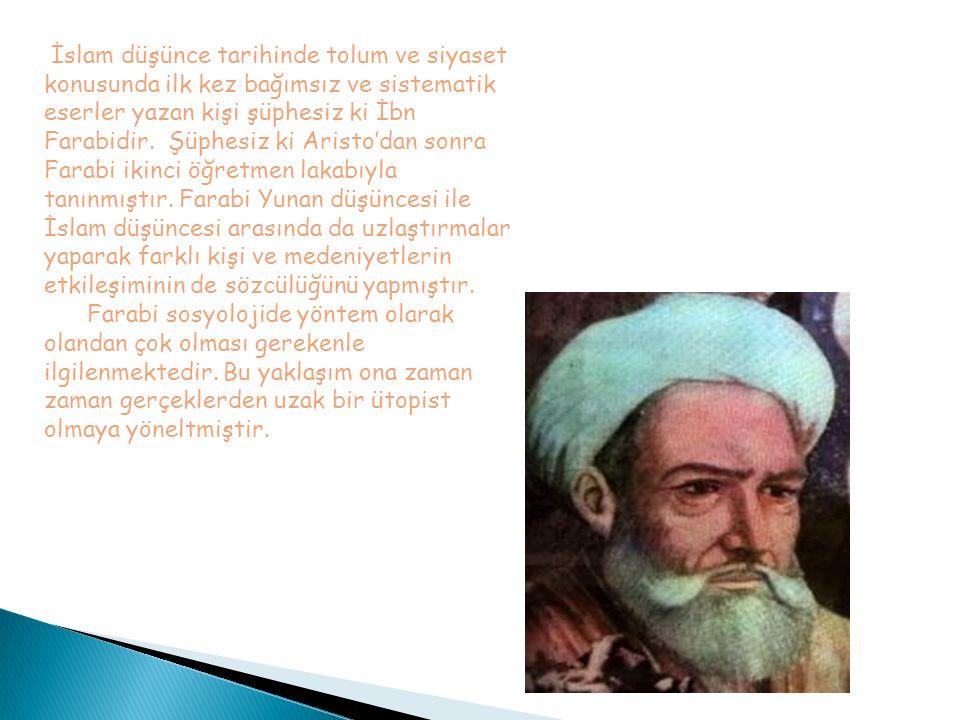 İslam düşünce tarihinde tolum ve siyaset konusunda ilk kez bağımsız ve sistematik eserler yazan kişi şüphesiz ki İbn Farabidir. Şüphesiz ki Aristo'dan