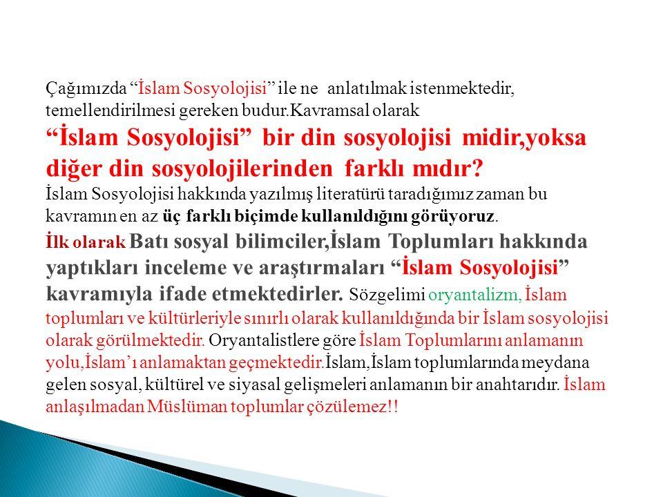 """Çağımızda """"İslam Sosyolojisi"""" ile ne anlatılmak istenmektedir, temellendirilmesi gereken budur.Kavramsal olarak """"İslam Sosyolojisi"""" bir din sosyolojis"""