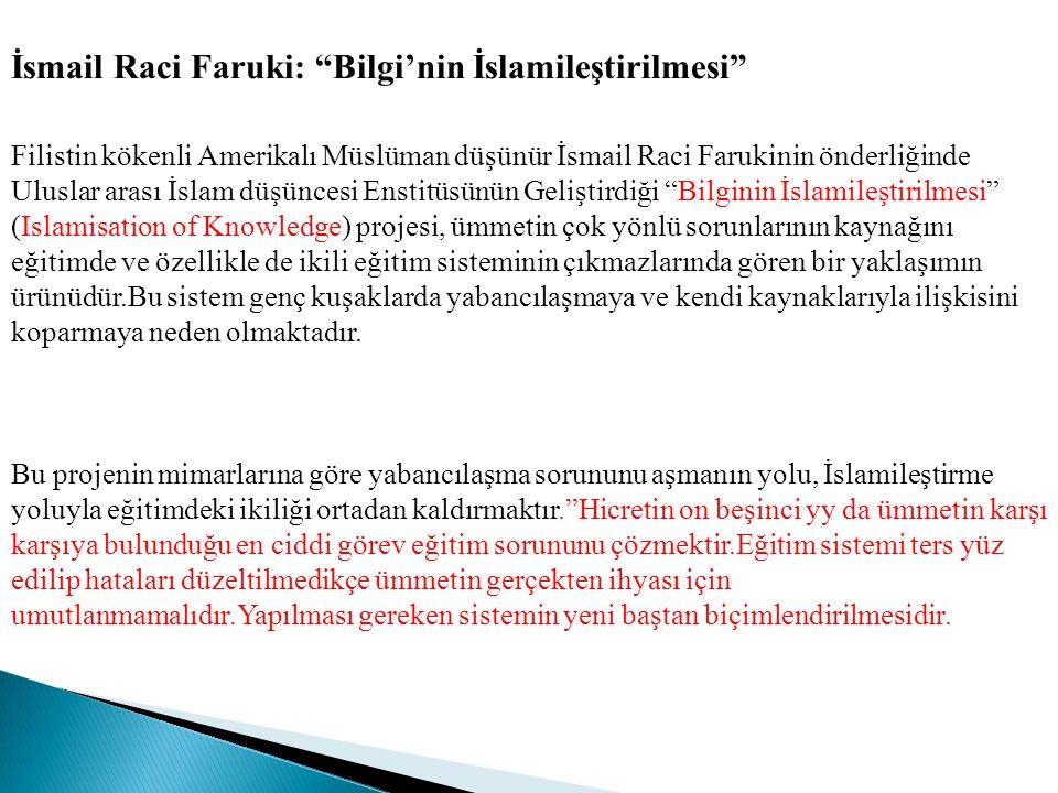 """İsmail Raci Faruki: """"Bilgi'nin İslamileştirilmesi"""" Filistin kökenli Amerikalı Müslüman düşünür İsmail Raci Farukinin önderliğinde Uluslar arası İslam"""