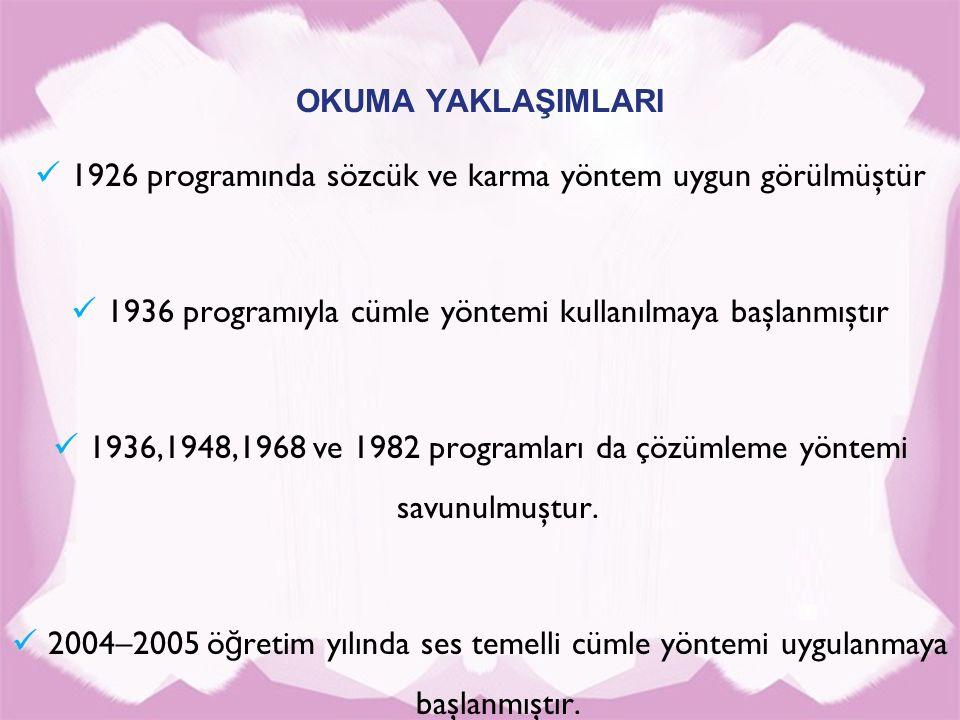 OKUMA YAKLAŞIMLARI 1926 programında sözcük ve karma yöntem uygun görülmüştür 1936 programıyla cümle yöntemi kullanılmaya başlanmıştır 1936,1948,1968 v