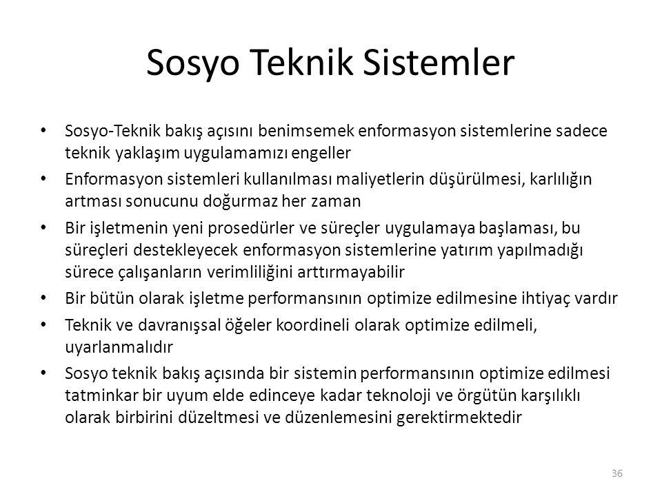 Sosyo Teknik Sistemler Sosyo-Teknik bakış açısını benimsemek enformasyon sistemlerine sadece teknik yaklaşım uygulamamızı engeller Enformasyon sisteml