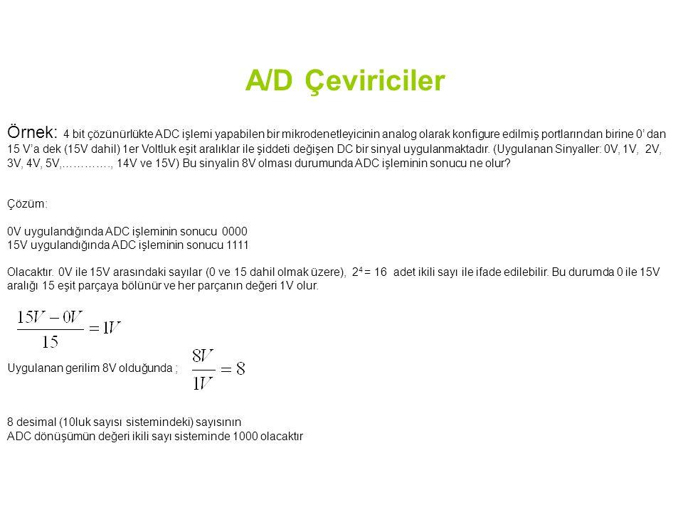 A/D Çeviriciler Örnek: 4 bit çözünürlükte ADC işlemi yapabilen bir mikrodenetleyicinin analog olarak konfigure edilmiş portlarından birine 0' dan 15 V