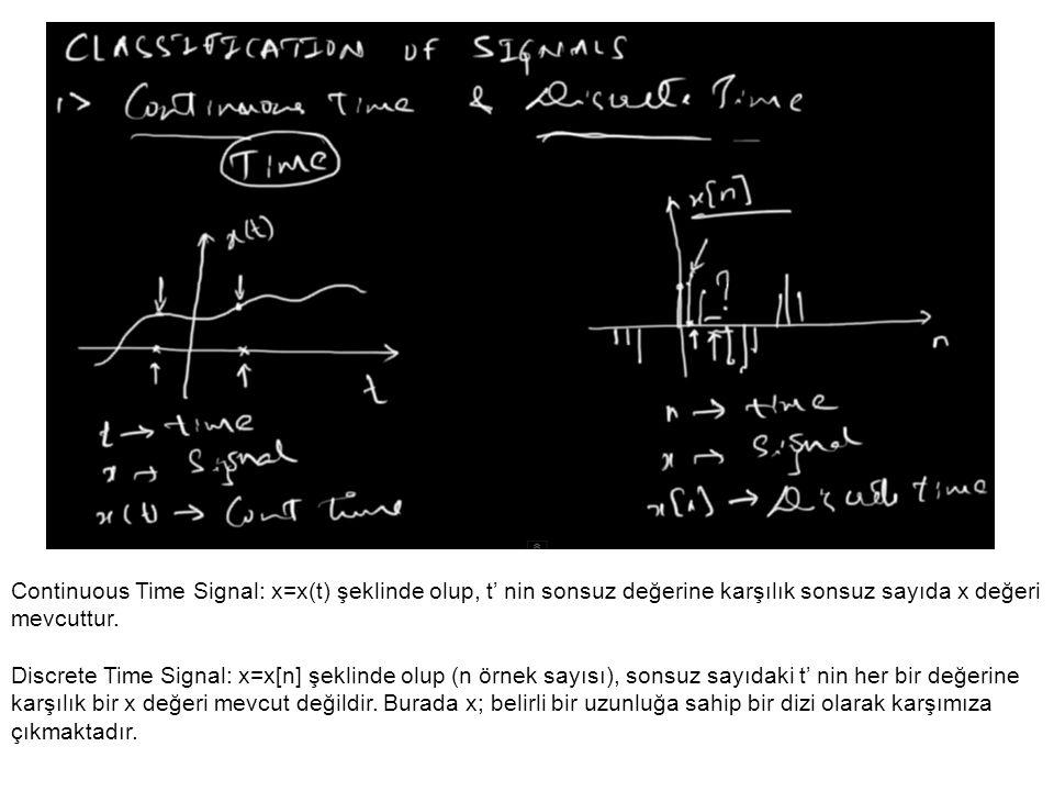 Continuous Time Signal: x=x(t) şeklinde olup, t' nin sonsuz değerine karşılık sonsuz sayıda x değeri mevcuttur. Discrete Time Signal: x=x[n] şeklinde