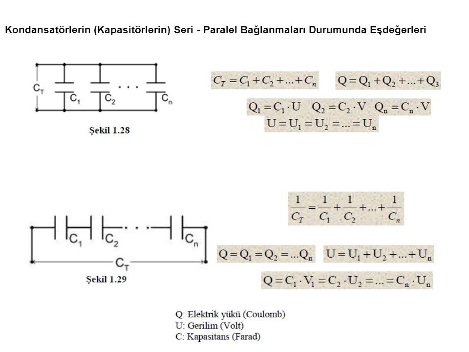 Kondansatörlerin (Kapasitörlerin) Seri - Paralel Bağlanmaları Durumunda Eşdeğerleri