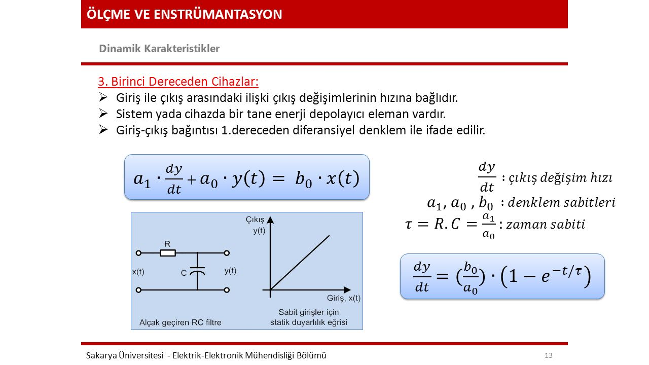 ÖLÇME VE ENSTRÜMANTASYON Dinamik Karakteristikler Sakarya Üniversitesi - Elektrik-Elektronik Mühendisliği Bölümü 13 3. Birinci Dereceden Cihazlar:  G