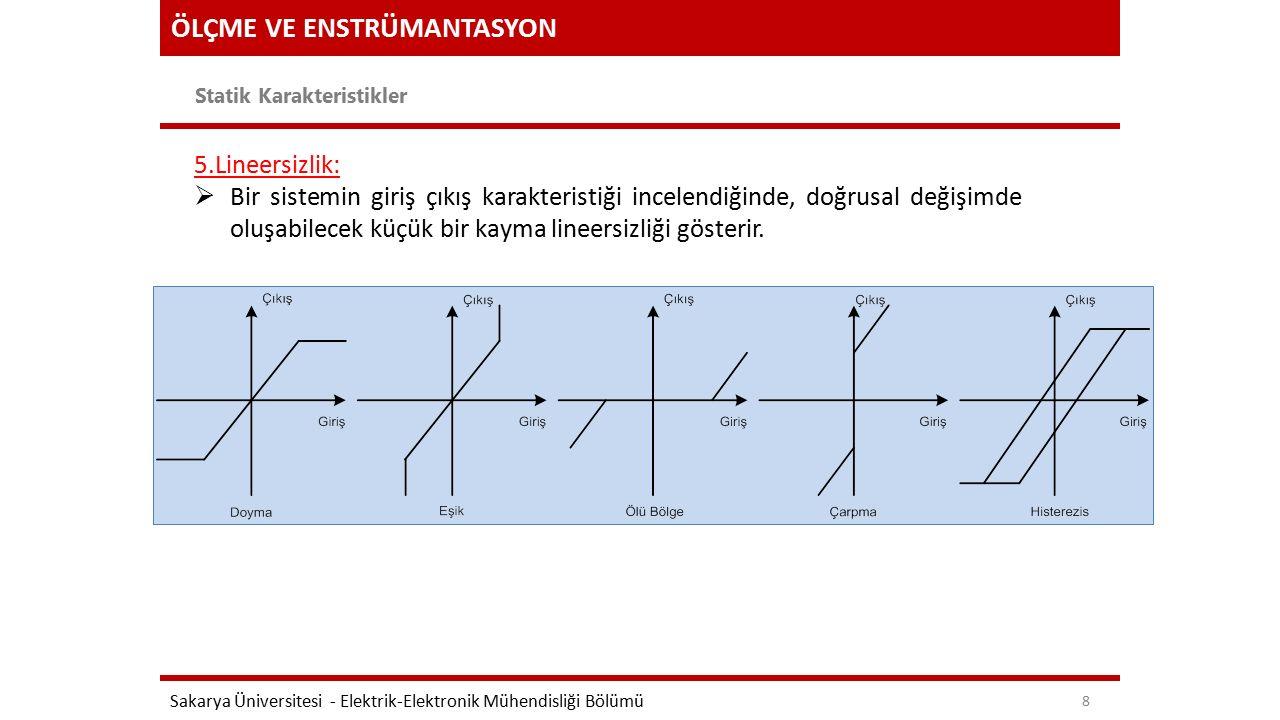 ÖLÇME VE ENSTRÜMANTASYON Statik Karakteristikler Sakarya Üniversitesi - Elektrik-Elektronik Mühendisliği Bölümü 8 5.Lineersizlik:  Bir sistemin giriş