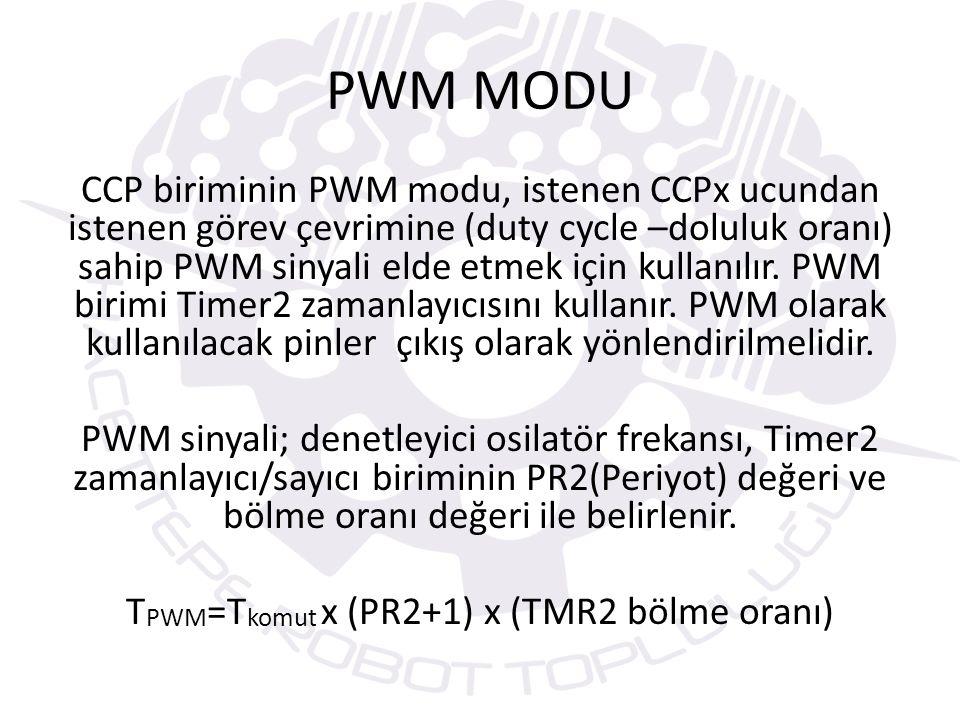 PWM dalga şeklinde görüldüğü gibi PWM sinyalin bir görev çevrimi – doluluk oranı- (duty cycle) bölümü vardır.