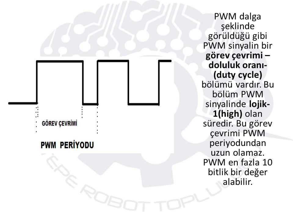 Örnek: #use delay (clock=4000000) setup_timer_2(T2_DIV_BY_4,120,1); f komut =4Mhz/4=1Mhz T PWM =T komut x (PR2+1) x (TMR2 bölme oranı) =1/1000000hz x (120+1) x 4 = 0.000484 sn