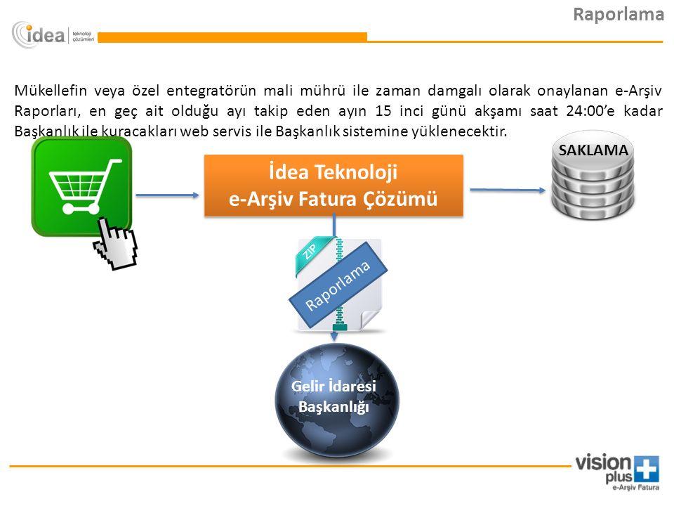 İdea Teknoloji e-Arşiv Fatura Çözümü İdea Teknoloji e-Arşiv Fatura Çözümü Gelir İdaresi Başkanlığı Raporlama SAKLAMA Raporlama Mükellefin veya özel entegratörün mali mührü ile zaman damgalı olarak onaylanan e-Arşiv Raporları, en geç ait olduğu ayı takip eden ayın 15 inci günü akşamı saat 24:00'e kadar Başkanlık ile kuracakları web servis ile Başkanlık sistemine yüklenecektir.