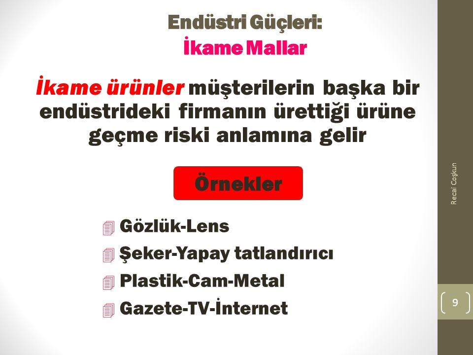 Endüstri Güçleri: İkame Mallar İkame ürünler müşterilerin başka bir endüstrideki firmanın ürettiği ürüne geçme riski anlamına gelir Recai Coşkun 9 4 Gözlük-Lens 4 Şeker-Yapay tatlandırıcı 4 Plastik-Cam-Metal 4 Gazete-TV-İnternet Örnekler