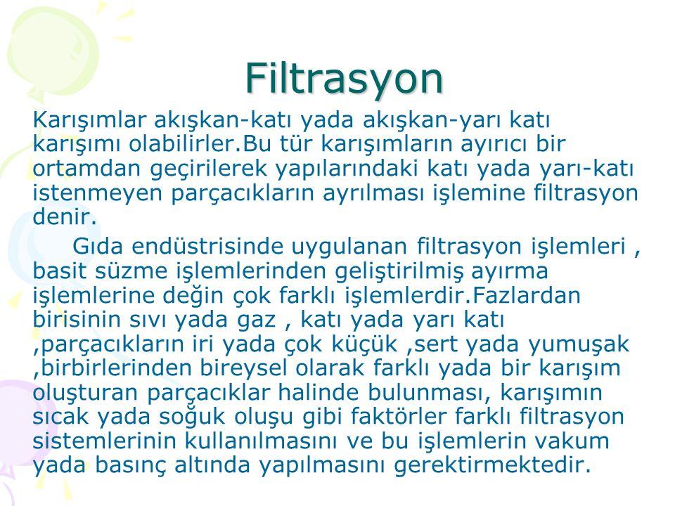 Filtrasyon Filtrasyon Karışımlar akışkan-katı yada akışkan-yarı katı karışımı olabilirler.Bu tür karışımların ayırıcı bir ortamdan geçirilerek yapılar