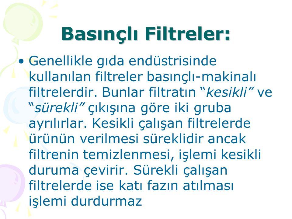 """Basınçlı Filtreler: Genellikle gıda endüstrisinde kullanılan filtreler basınçlı-makinalı filtrelerdir. Bunlar filtratın """"kesikli"""" ve """"sürekli"""" çıkışın"""