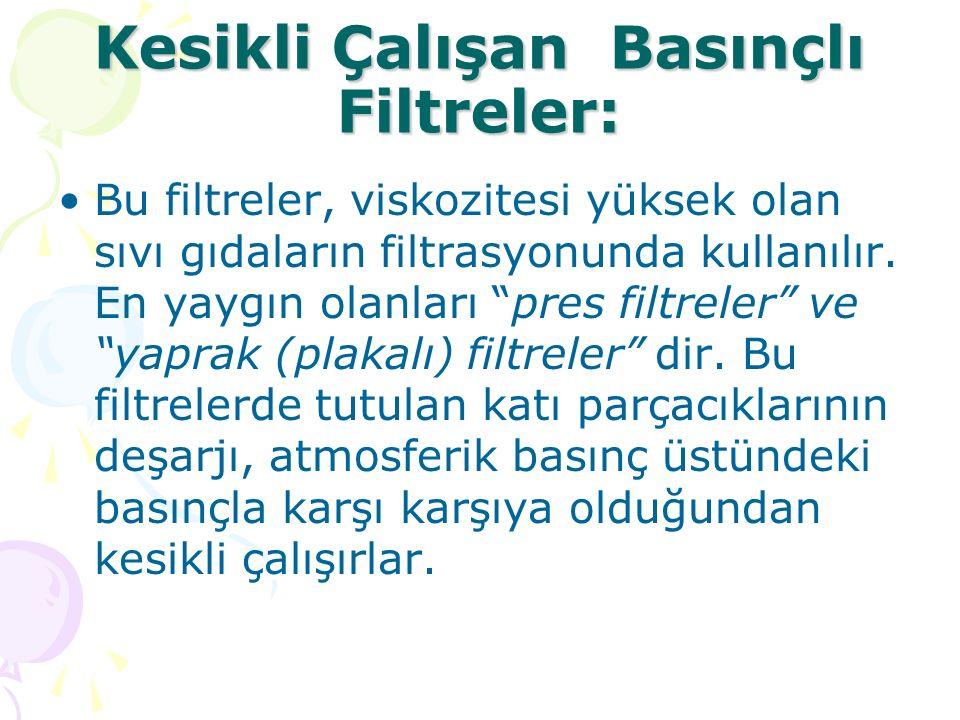 """Kesikli Çalışan Basınçlı Filtreler: Bu filtreler, viskozitesi yüksek olan sıvı gıdaların filtrasyonunda kullanılır. En yaygın olanları """"pres filtreler"""