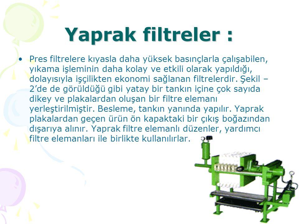 Yaprak filtreler : Pres filtrelere kıyasla daha yüksek basınçlarla çalışabilen, yıkama işleminin daha kolay ve etkili olarak yapıldığı, dolayısıyla iş